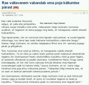 9. septembri Delfi teade reformierakondlasest Rae vallavanema Veigo Gutmanni vabandusega