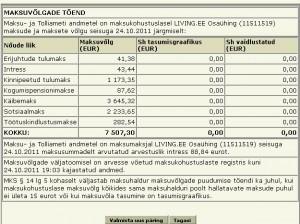Maksu- ja Tolliameti andmed Living.ee OÜ maksuvõla kohta 24. oktoober 2011 seisuga.