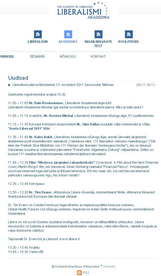 Liberalismi päeva tähistamise kava aadressilt www.liberalism.ee
