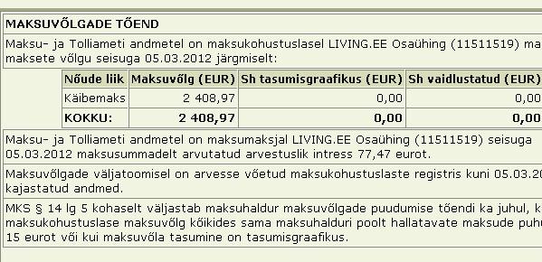 Living.ee osaühing tasumata maksud