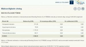 Maksu- ja Tolliameti andmetel on maksukohustuslasel Branding Estonia Oü (11769028) maksude ja maksete vőlg