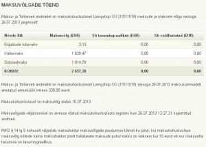 Livingshop OÜ (11511519) maksuvõlg juuli 2013 seisuga