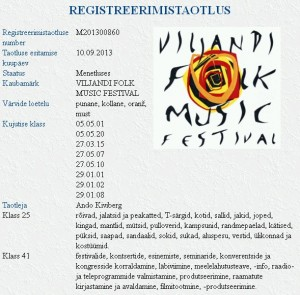 """Ando Kiviberg taotleb kaubamärki """"VILJANDI FOLK MUSIC FESTIVAL"""""""