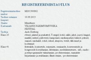 """Ando Kiviberg taotleb kaubamärki """"VILJANDI PÄRIMUSMUUSIKA FESTIVAL"""""""