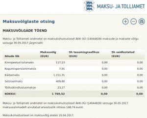 Maksukohustuslasel ÄKK OÜ (14044828) on maksude võlgu seisuga 30.05.2017 summas 1769,52 ja arvestatud intress 148.74