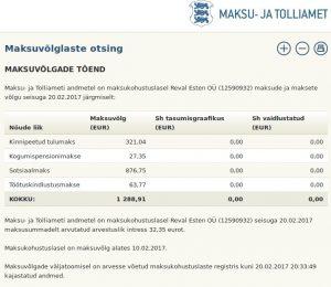 Reval Esten OÜ (12590932) võlg