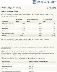 Maksukohustuslasel ÄKK OÜ (14044828) on seisuga 01.09.2017 maksuvõlg 1 769,52 eurot ja maksusummadelt arvutatud arvestuslik intress 248,53 eurot.