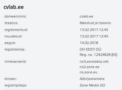 Domeeni cvlab.ee registreerija on OH EESTI OÜ Reg. no. 12424828