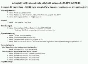 Complexis OÜ (registrikood 12756453) registrikaart