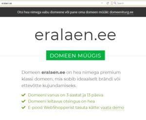 august 2018 ja Sauber (Internetikaubamajad OÜ) müüb eralaen.ee domeeni läbi talle kuuluva domeeniturg.ee lehe
